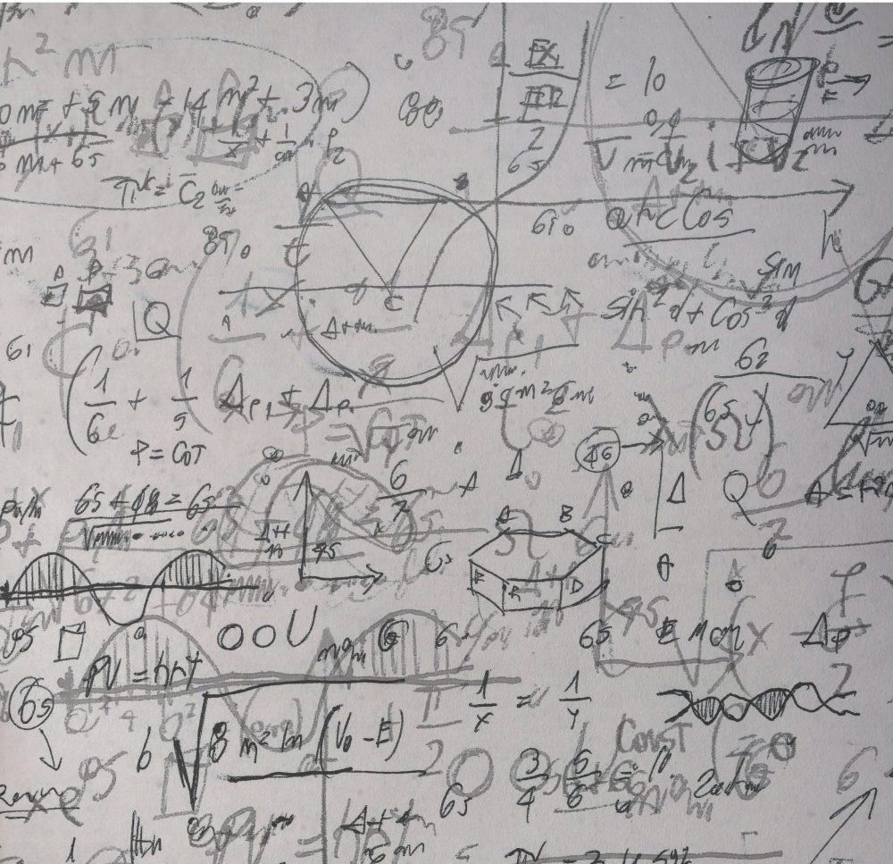 formulas written on board